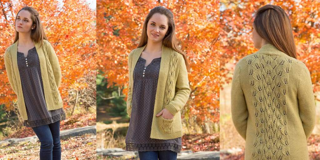 Вязание кофты узором осенние листья